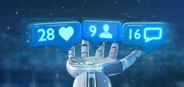 Cyborg-hand hält like-, follower- und nachrichtenbenachrichtigung im sozialen netzwerk ing