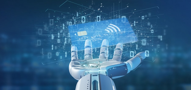 Cyborghand, die eine kontaktlose kreditkartenzahlung hält