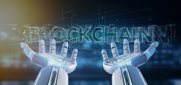Cyborghand, die eine wiedergabe blockchain-titels 3d hält