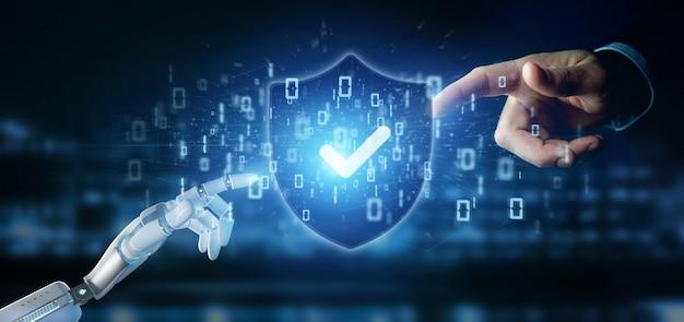 Cyborghand, die eine wiedergabe des schildwebsicherheitskonzeptes 3d hält