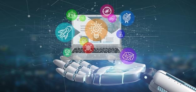 Cyborghand, die eine wolke der bunten startikonenblase mit einer wiedergabe des laptops 3d hält