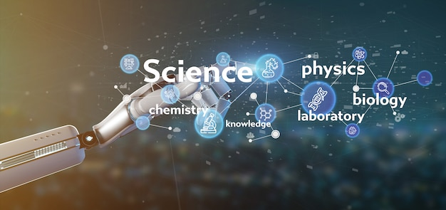 Cyborghand, die wissenschaftsikonen und -titel hält