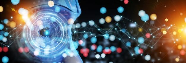 Cyborgkopf, der künstliche intelligenz verwendet, um wiedergabe der digitalen schnittstelle 3d herzustellen
