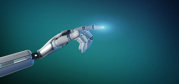 Cyborgroboterhand auf einer einheitlichen wiedergabe 3d