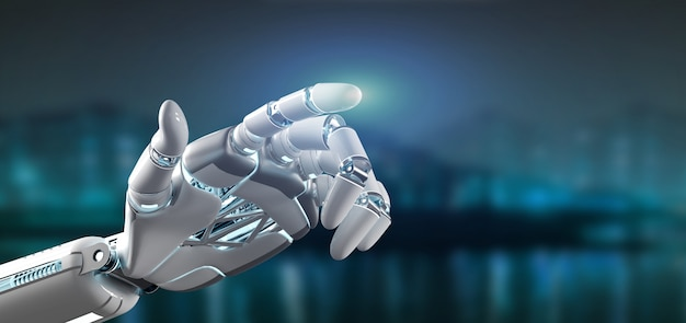 Cyborgroboterhand auf einer stadt