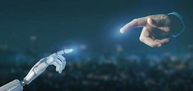 Cyborgroboterhand auf einer wiedergabe des stadthintergrundes 3d