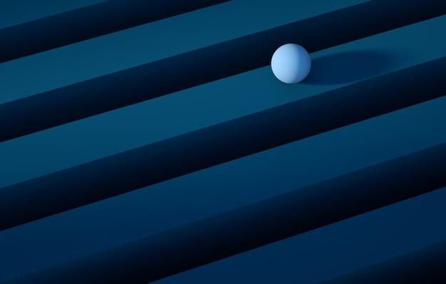 D abbildung geometrische blaue kugel, die über ein abstraktes hintergrundkonzept des blauen streifens rollt