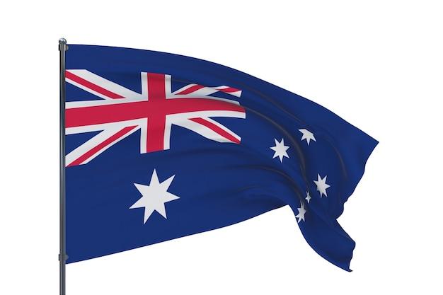 D-abbildung wehende flaggen der weltflagge von australien isoliert auf weißem hintergrund
