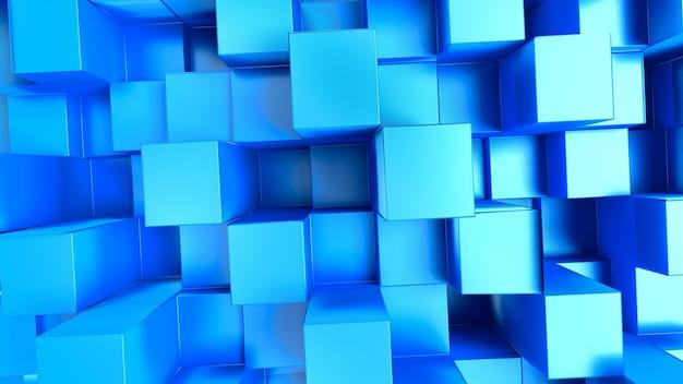 D abstrakter hintergrund mit blauen quadraten im vollbildmodus