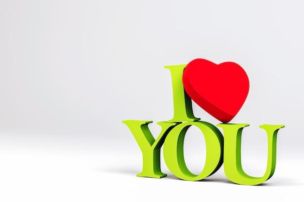 D brief ich liebe dich grünes herz rot