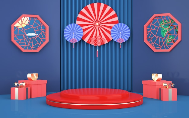 D darstellung des abstrakten geometrischen hintergrunds mit dekoration im chinesischen stil für die produktanzeige