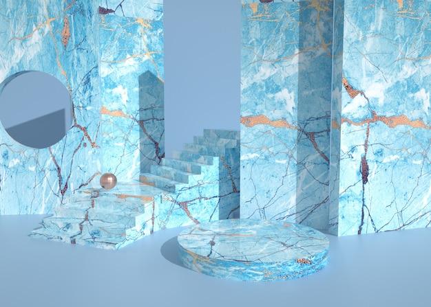 D darstellung des abstrakten geometrischen hintergrunds mit marmorsockel