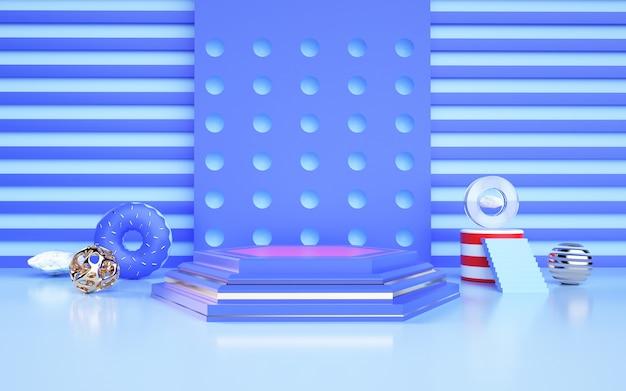 D darstellung des blauen abstrakten geometrischen hintergrunds mit podium für eine produktanzeige