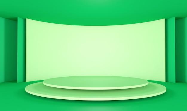 D darstellung des geometrischen formhintergrunds mit rundem podest des goldenen podiums für produktanzeige