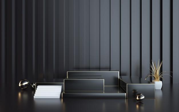 D darstellung des schwarzen rechteckigen podiums der abstrakten geometrischen plattform für die produktanzeige