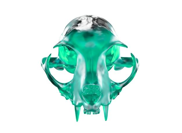 D-darstellung des smaragdgrünen kristallkatzenschädels isoliert auf weißem hintergrund