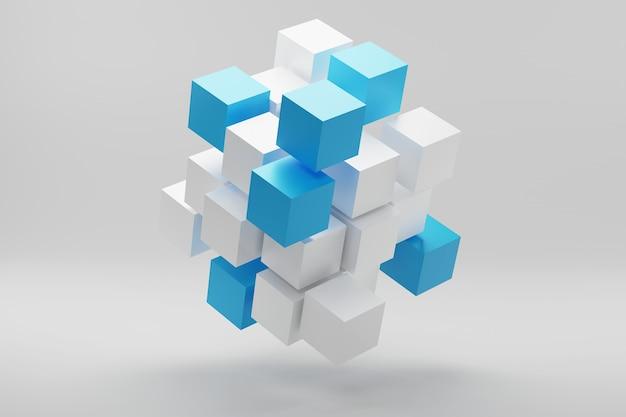D-darstellung des würfels aus kleinen blöcken abstraktes hintergrundgeschäftskonzept