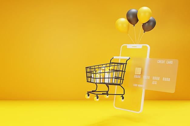 D online-shopping-konzept mit warenkorb, tasche, ballon, kreditkarte und handy. 3d-rendering.