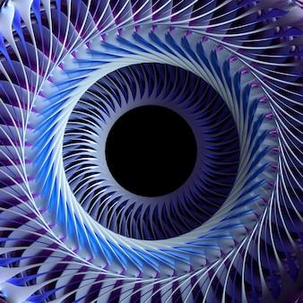 D rendering der abstrakten kunst teil des surrealen turbinenstrahltriebwerks mit fraktalen rotorblättern des scharfen wirbelrotors aus weißem und blauem aluminiummetallmaterial mit loch in der mitte auf isoliertem weißem hintergrund