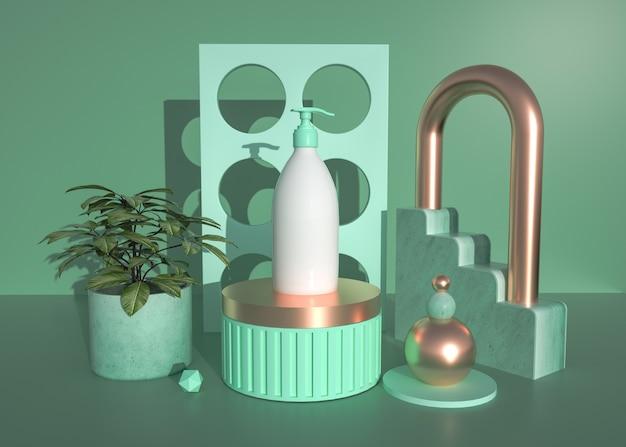 D rendern eines abstrakten geometrischen formhintergrunds mit schönheitscreme auf dem sockel für ein anzeigemodell