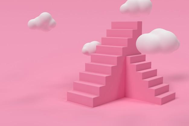 D rosa treppe mit wolken