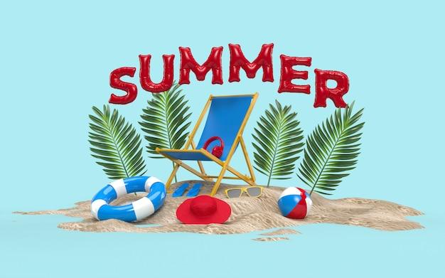 D text sommer auf beach island mit sonnenglas, flip-flops, ball, ring floating, plam leaf und stuhl für hintergrund, banner. design des sommerferien-ferienkonzepts. 3d-rendering