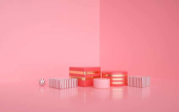 D wiedergabe des abstrakten rosa geometrischen hintergrunds für produktanzeige
