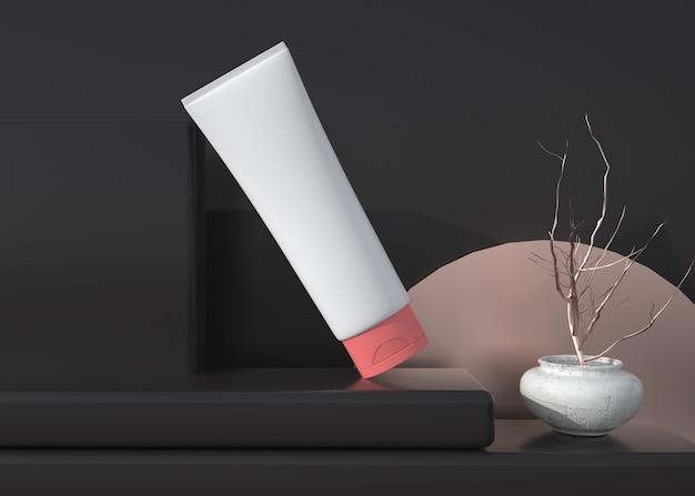 D wiedergabe eines kosmetischen produkts mit schwarzem geometrischem hintergrund für das anzeigemodell