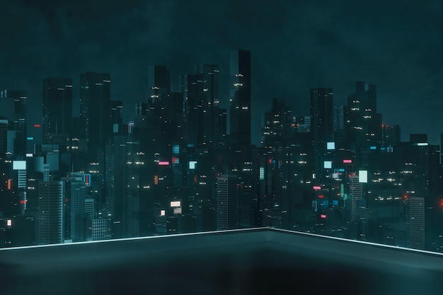 Dach-ecke eines gebäudes mit blick auf die mega-stadt bei nacht
