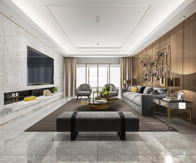 Dachboden-luxuswohnzimmer der wiedergabe 3d mit bücherregal