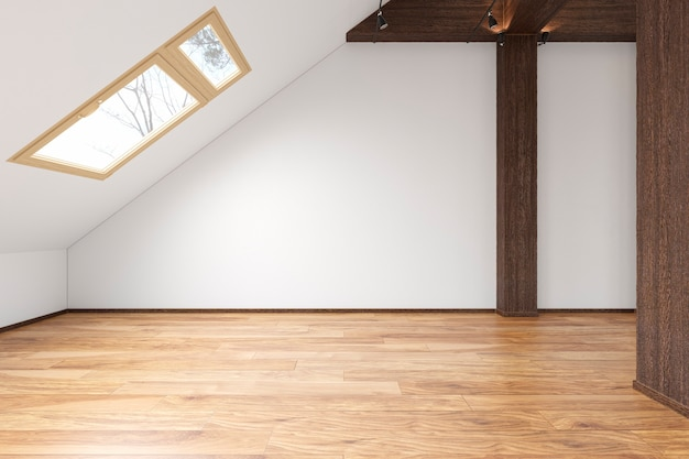 Dachboden offener raum leerer innenraum mit balken, fenstern, treppenhaus, holzboden. 3d-rendering-abbildung mock-up.