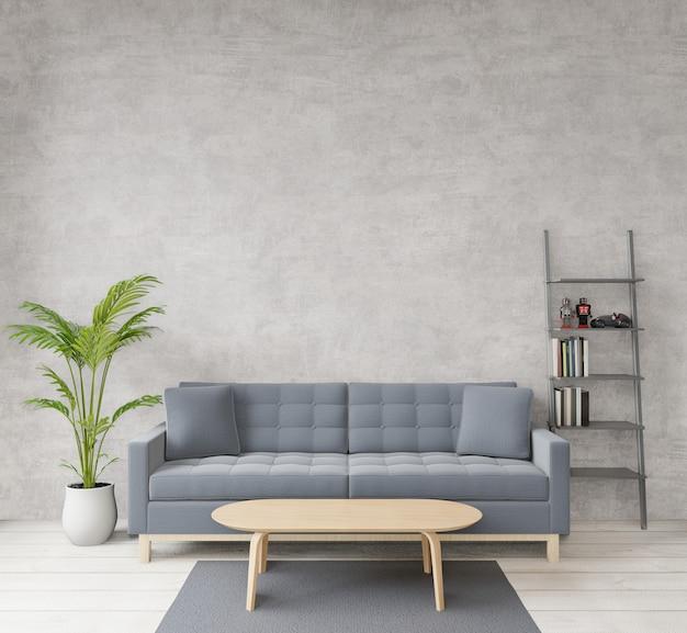 Dachbodenartwohnzimmer mit rohem beton, bretterboden, sofa