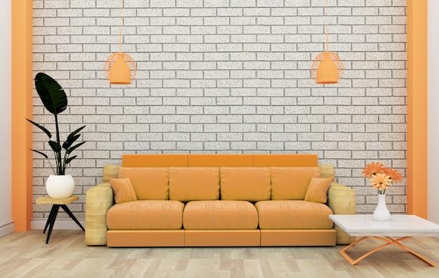 Dachbodeninnenspott oben mit sofa und dekoration und weißer backsteinmauer auf bretterboden