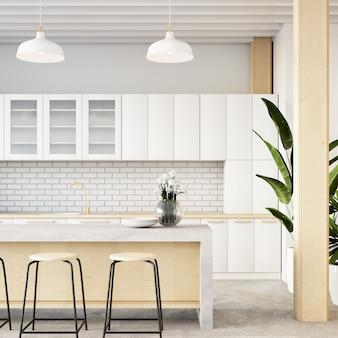 Dachbodenküchenrauminnenraum / wiedergabe 3d