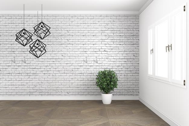 Dachbodenraumdesign, mit lampe und anlagen auf weißen fenstern in der backsteinmauer auf bretterboden. 3d