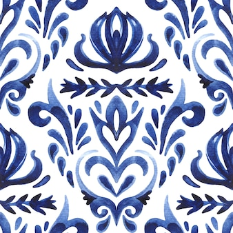 Damast nahtlose ornamentale aquarell arabeske farbe fliesenmuster für stoff und wanddekoration.