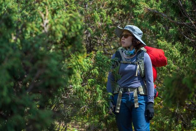 Dame backpacker oder trekker mit rucksack verloren im dschungel in nepal