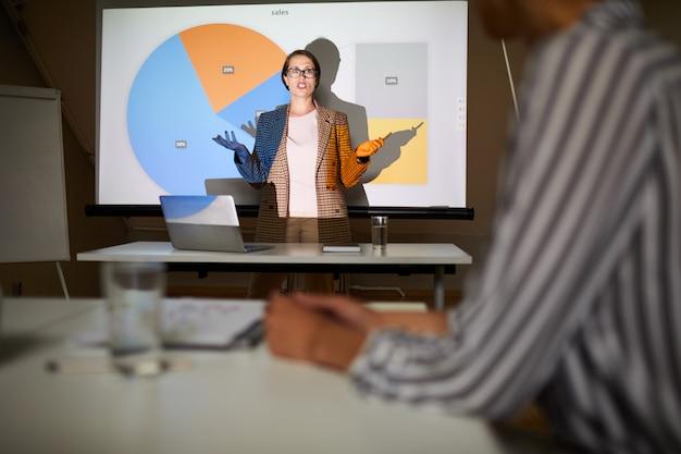 Dame zeigt präsentation auf verkaufsplan