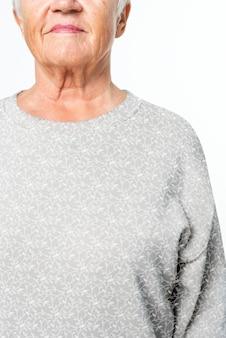 Damen übergroßer grauer pullover freizeitbekleidung mit designraum nahaufnahme