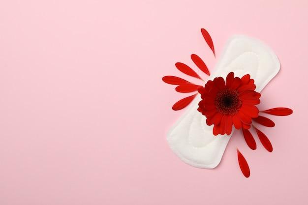 Damenbinde mit gerbera auf rosa oberfläche