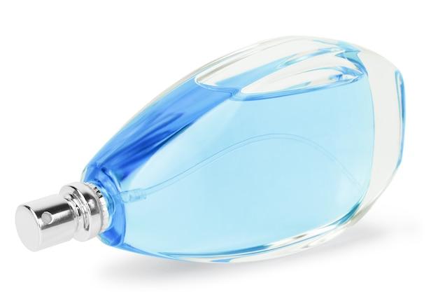 Damenparfüm in schöner flasche isoliert auf weißem hintergrund