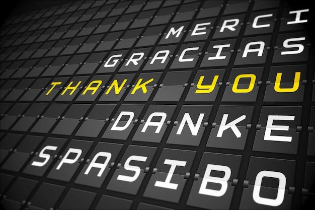 Danke in den sprachen auf schwarzem mechanischem brett