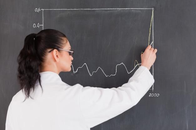 Dark-haired wissenschaftler, der diagramme auf der tafel zeichnet