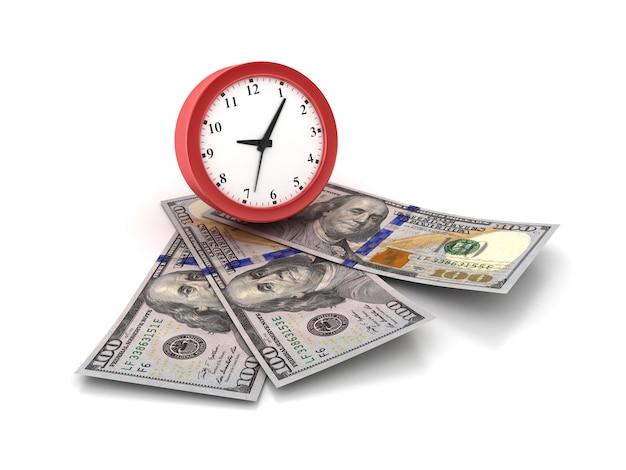 Darstellung der uhr mit dollarnoten