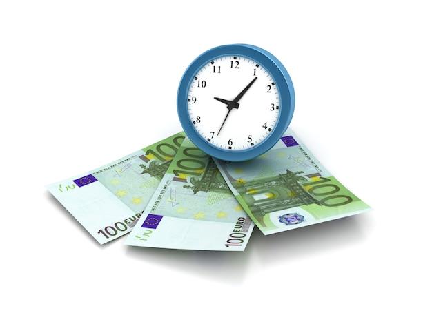 Darstellung der uhr mit euro-rechnungen