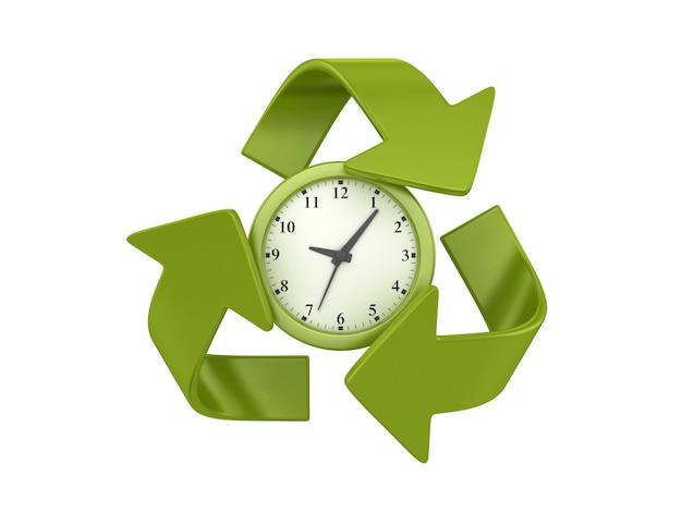 Darstellung der uhr mit recycling-symbol