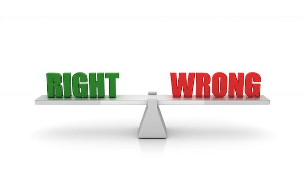 Darstellung der wippe mit rechten falschen worten rendern