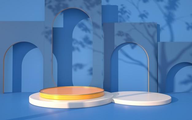 Darstellung des abstrakten geometrischen hintergrunds mit sockel für produktstand