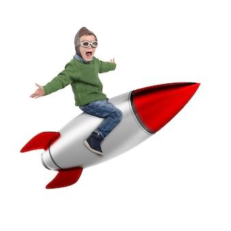 Darstellung des glücklichen kindes, das auf einer rakete sitzt