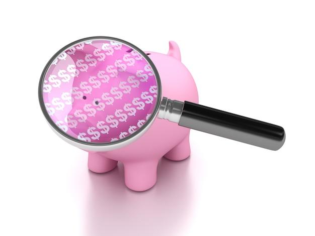 Darstellung des sparschweins mit lupe